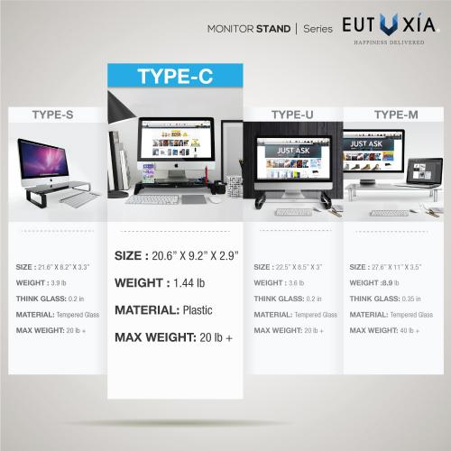 Eutuxia Monitor Stand Type-C - [Sleek Black] [Plastic] Slim Monitor Laptop Multimedia Stand with Desk Organizer