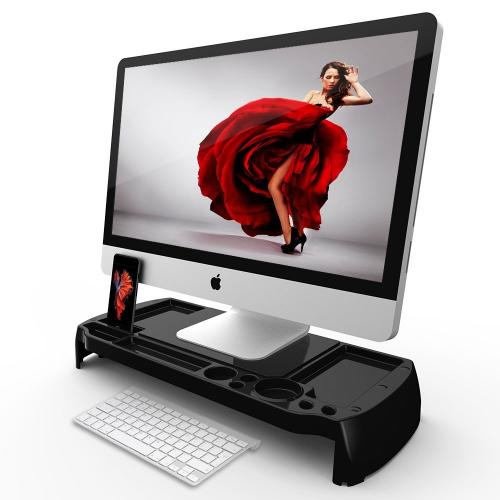 Eutuxia Monitor Stand Type-C - [Sleek Black] [Plastic] Slim Universal Monitor Laptop Multimedia Stand with Desk Organizer