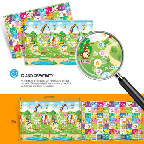 Baby & Kids Safety Play Mat [Picnic Fun/ Fun Alphabet] Great For Baby Crawling, Kids Activity!