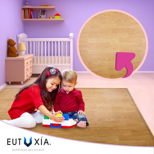 Baby & Kids Safety Play Mat [Wood Grain/ Happy Bear] Great For Baby Crawling, Kids Activity!