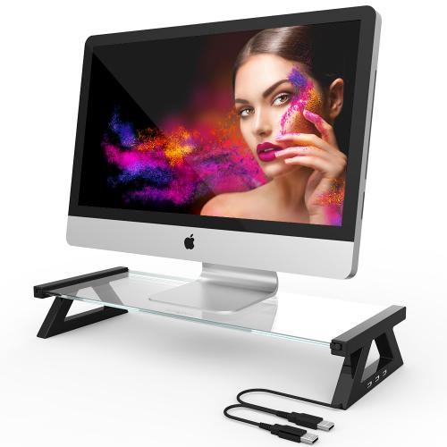 [Extra USB Port] Tempered Glass Laptop Monitor Stand [Black] [Type X] Eutuxia Monitor Stand Riser Desk Organizer with 3 USB Ports for Monitors, Laptops, Printers and Fax Machines