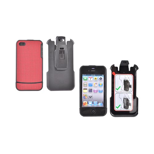 Original AGF Apple Verizon/ AT&T iPhone 4, iPhone 4S Vandelay Hard Case w/ Holster & Kickstand, 86874 - Red Diamonds/ Black