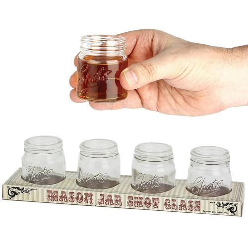 Barbuzzo Mini 2.4oz Mason Jar Shot Glass - Set of 4