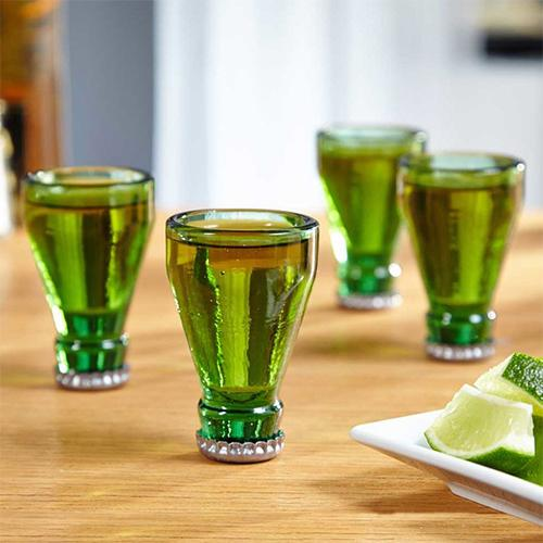Barbuzzo Top Shots Recycled Beer Bottle Top Shot Glass Set of 4