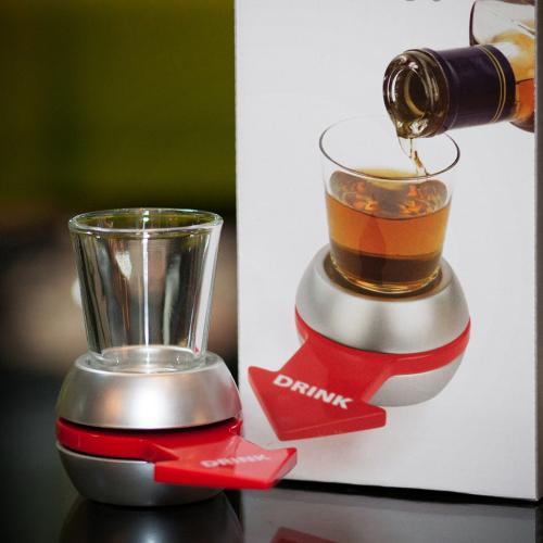 Barbuzzo Spin-the-Shot Drinking Game Spinning Arrow Shot Glass Stand