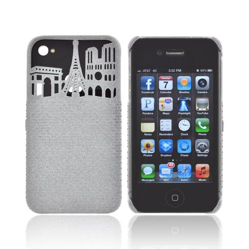 OEM Freshfiber Apple iPhone 4/4S Textured Nylon Hard Case - Gray Paris City