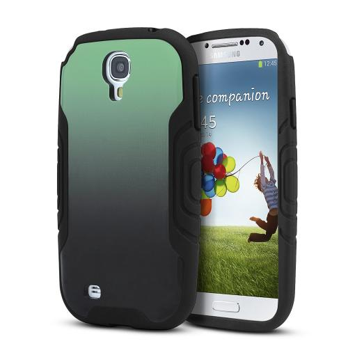 Heavy Duty Black Crystal Silicone Skin Case w/ Mint to Black Fade Hard Back for Samsung Galaxy S4