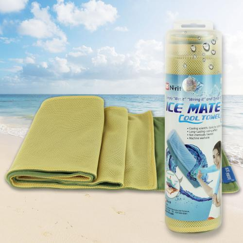 N-Rit [Yellow/ Olive Green] Ice Mate Cool Towel w/ Cooling Technology - Beat the Heat!
