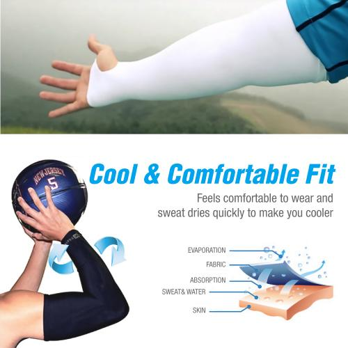 N-Rit Tube 9 Coolet Cooling Compression Sports Arm Sleeve [Dark Blue] w/ 99% UV Protection for Outdoor Activities (Golf Training Cycling etc)