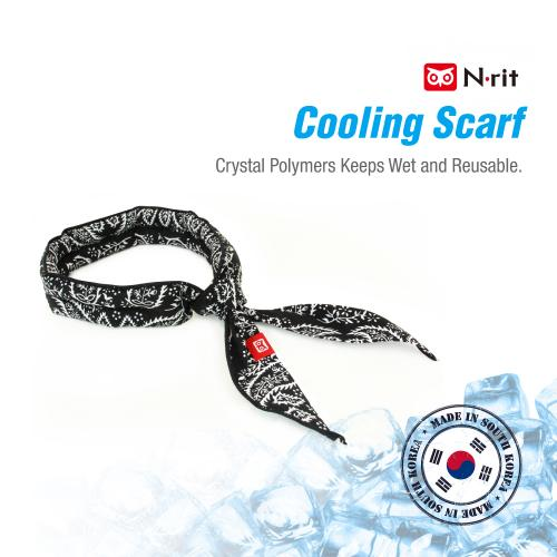 N-Rit Cooling Scarf [Cotton Orange Paisley], Wrap a Soaked Tie Around Neck to Chill Out. Crystal Polymers Keeps Wet and Reusable. Great for Outdoors, Sports, Travel, Exercise.