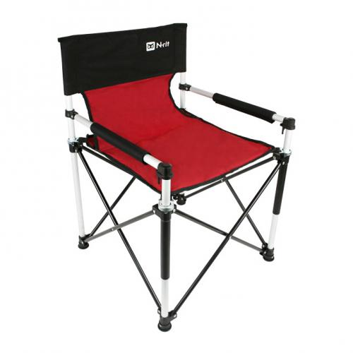 Deluxe Slim Folding Chair w/ Aluminum Frame for Camping, Fishing, Outdoor Activities [Red/Black]