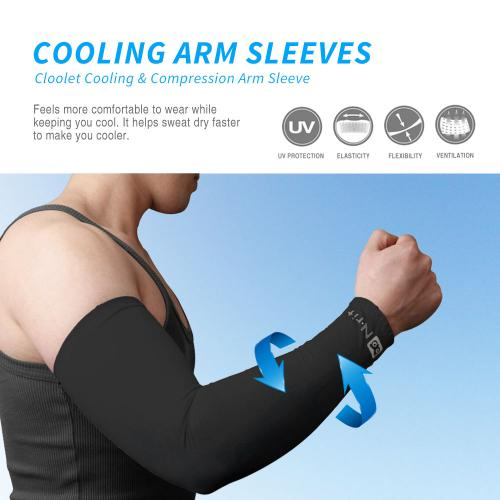 N-Rit Tube 9 Coolet  Cooling Compression Sports Arm Sleeve [Black] w/ 99% UV Protection for Outdoor Activities (Golf Training Cycling etc)