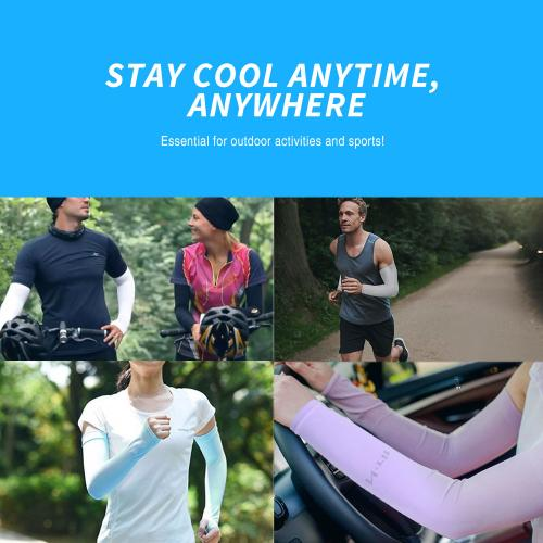 N-Rit Tube 9 Coolet  Cooling Compression Sports Arm Sleeve [Blue] w/ 99% UV Protection for Outdoor Activities (Golf Training Cycling etc)