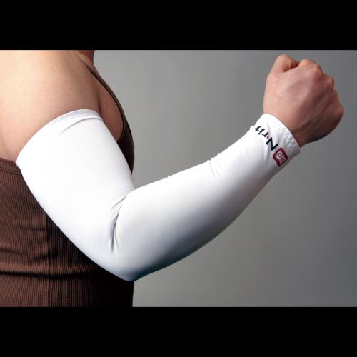 N-Rit Tube 9 Coolet 2 Cooling Compression Sports Arm Sleeve [White  Small] w/ 99% UV Protection for Outdoor Activities (Golf  Training  Cycling  etc)