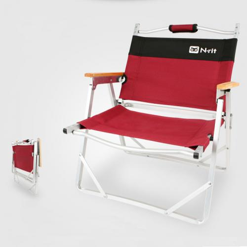 Red/Black Low Folding Chair w/ Aluminum Frame & Wood Armrests – Perfect for Camping, Beaches, Patios - Comes with Carrying Bag