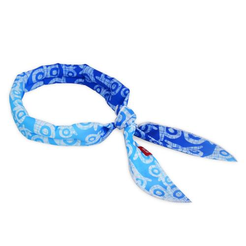 N-Rit Cooling Scarf [Polyester Blue Owl], Wrap a Soaked Tie Around Neck to Chill Out. Crystal Polymers Keeps Wet and Reusable. Great for Outdoors, Sports, Travel, Exercise.