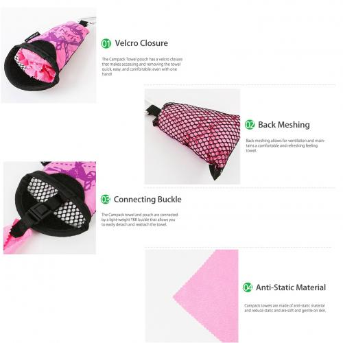 "N-Rit [Pink] Campack Small Cleaner 12""x12"" (30x30cm) Microfiber Cloth - Perfect for Hiking!"