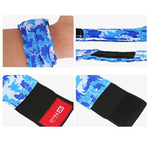 Cooling Wrist Band/Wrap for Sports, Exercise, Running, Hiking, Gardening - Just Wet and Stay Cool for Hours! - 2.5x11 inches [Blue Bandana Design]