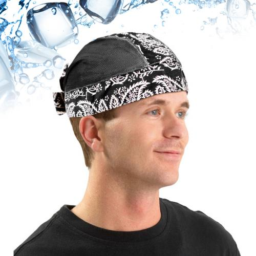 N-Rit [Black Bandana Design] Polar Ice Skull Cap w/ Crystal Polymer Cooling Technology - Great for Under Helmets!