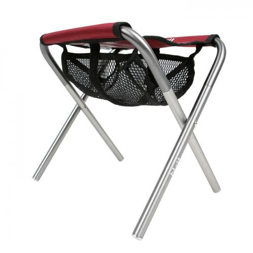 Compact Folding Chair w/ Mesh Pouch & Storage Bag - Great for Camping, Backpacking, Fishing, Beaches, Outdoors [Red/Black]