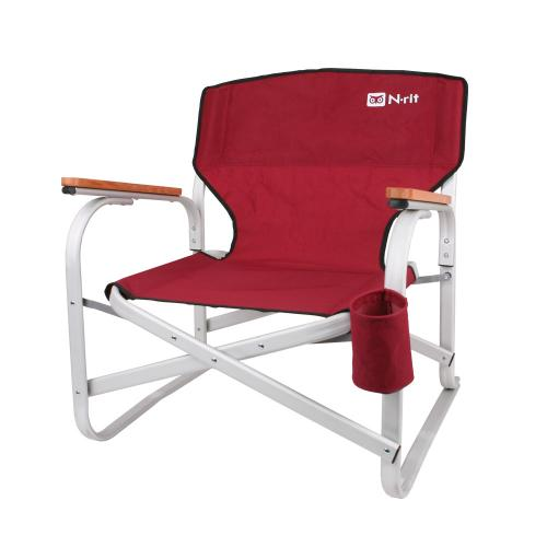 Low Folding Chair w/ Cup Holder, Aluminum Frame, and Wood Armrests – Perfect for Camping, Beaches, Patios - Carrying Case Included [Red/Black]