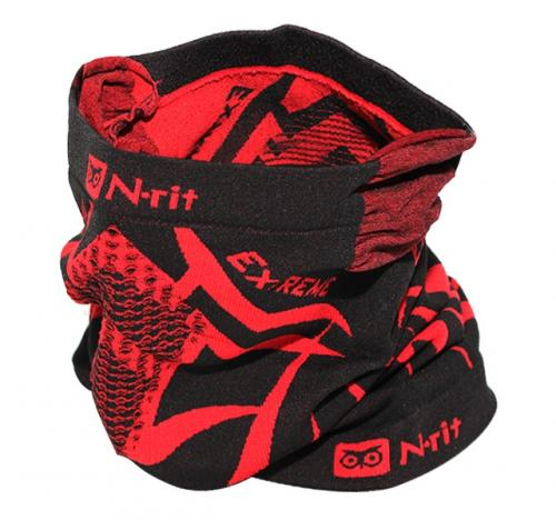 [n-rit Tube 9 Extreme 3] Multifunctional Face Mask Headwear Durable Lightweight W/ Dual Ventilation Breathing System And Ear Muff [Black/Red]