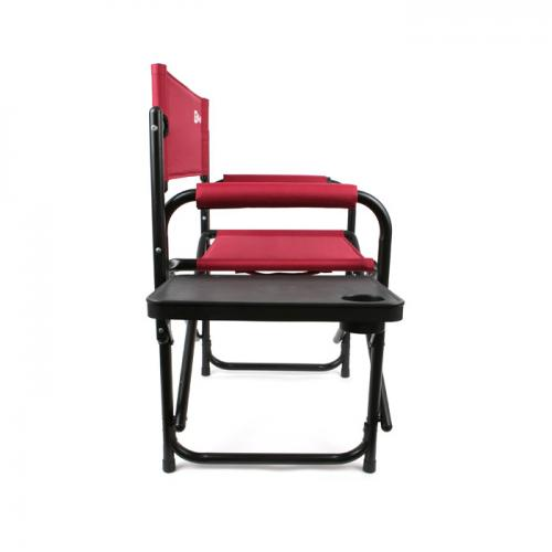 Red/Black Folding Chair w/ Cup Holder and Table – Perfect for Camping, Patios, Beaches