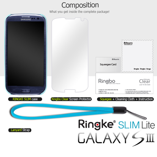 OEM Rearth Samsung Galaxy S3 Ringke Slim Hard Case w/ Screen Protector - Mint