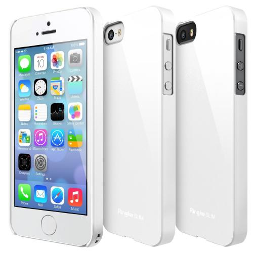 Solid White Apple iPhone 5/5S SLIM Series Premium Dual Coated Hard Cover Case