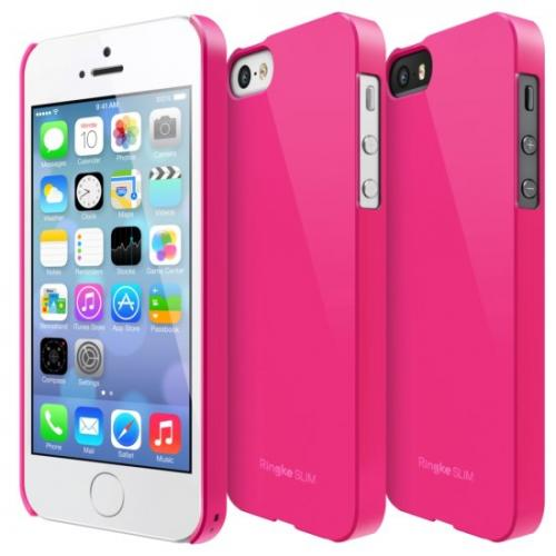 Rearth Hot Pink Ringke Slim Series Rubberized Hard Back Cover Case for Apple iPhone 5/5S - XXIP5