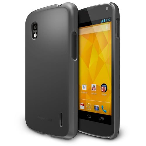 Gray Google Nexus 4 SLIM Series Premium Dual Coated Hard Cover Case