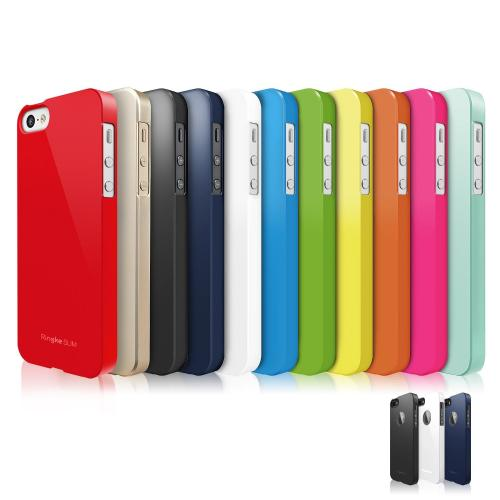 Solid White Apple iPhone 5/5S SLIM Series Premium Dual Coated Hard Cover Case w/ Logo Cut Out