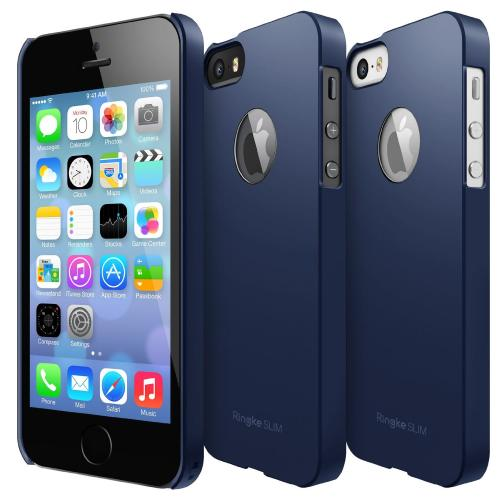 Navy Apple iPhone 5/5S SLIM Series Premium Dual Coated Hard Cover Case w/ Logo Cut Out
