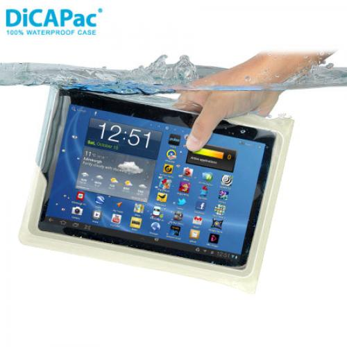 "DiCAPac Clear/ Frost White Waterproof Case w/ Handle for 10"" Tablets - WP-T20"