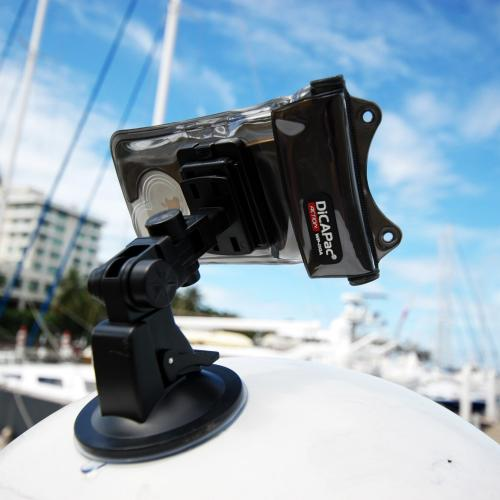 DiCAPac Black Action Suction Cup Mount for Boat  Yacht  or Car - Compatible w/ Action Waterproof Cases