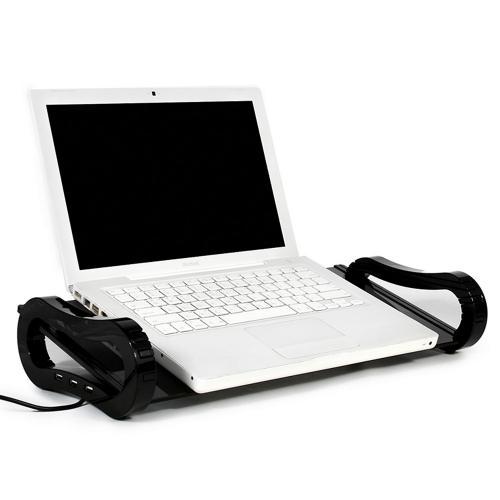 Black iRoo iBoard Mini Desk Organizer Monitor Riser w/ Tempered Glass & 3 Port USB Hub for Notebooks/ LCD Monitors - IB-133
