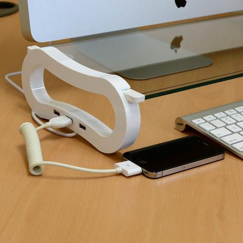 White AccessoryGeeks Basic Desk Organizer Monitor Riser w/ Tempered Glass & 3 Port USB Hub for Notebooks/ LCD Monitors - IB-904