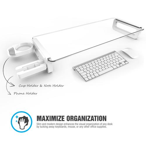White U-Board Monitor Laptop Stand, Universal Computer Organizer Shelf w/ USB Ports, Cup Holder & Phone Dock