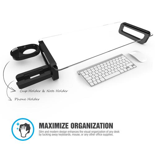 Black Monitor Stand Riser Desk Organizer w/ 3 USB Ports & Cup Holder - Made w/ Ultra-Strong Tempered Glass