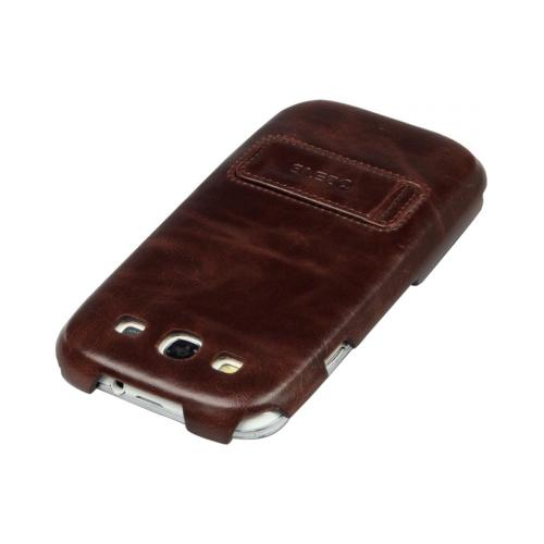 OEM Zenus Samsung Galaxy S3 Masstige Heritage Leather Stand Case - Black Chocolate