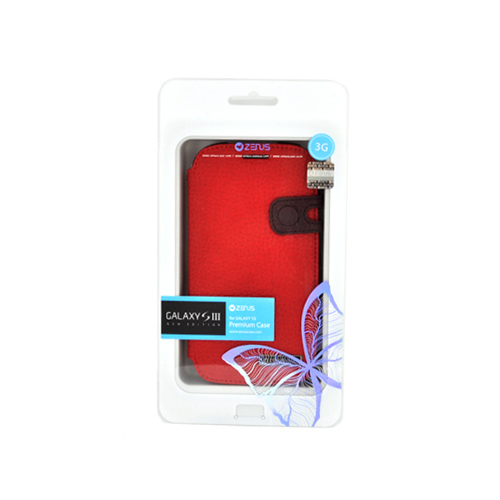 Zenus Samsung Galaxy S3 Masstige Leather Diary Case w/ ID Slots - Red/ Brown