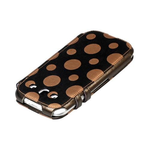 OEM Zenus Samsung Galaxy S3 Masstige Dot Color Point Leather Diary Case w/ ID Slots - Copper/ Espresso Brown Polka Dots