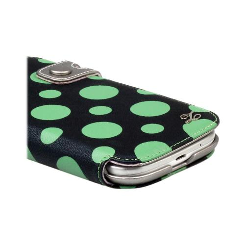 OEM Zenus Samsung Galaxy S3 Masstige Dot Color Point Leather Diary Case w/ ID Slots - Green/ Black Polka Dots