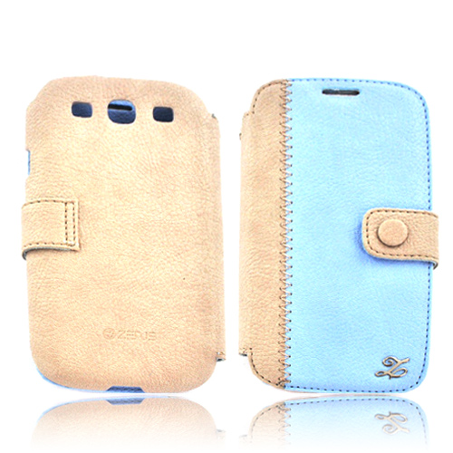 Zenus Samsung Galaxy S3 Leather E-Note Diary Case w/ ID Slots - Baby Blue/ Light Gray