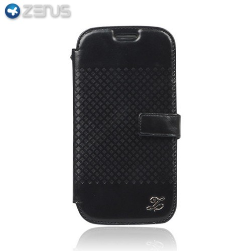 OEM Zenus Samsung Galaxy S3 Prestige Minimal Block Leather Diary Case w/ ID Slots - Black