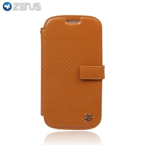 OEM Zenus Samsung Galaxy S3 Prestige Block Leather Diary Case w/ ID Slots - Light Brown