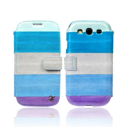 OEM Zenus Samsung Galaxy S3 Prestige EEL Leather Diary Case w/ ID Slots - Multi-Blue