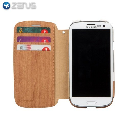 OEM Zenus Samsung Galaxy S3 Masstige Block Leather Oak Wood Diary Case w/ ID Slots - White/ Light Brown