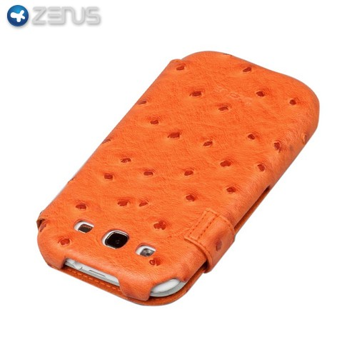OEM Zenus Samsung Galaxy S3 Masstige Ostrich Leather Diary Case w/ ID Slots - Orange