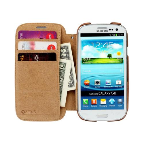 OEM Zenus Samsung Galaxy S3 Prestige Vintage Signature Leather Diary Case w/ ID Slots - Brown